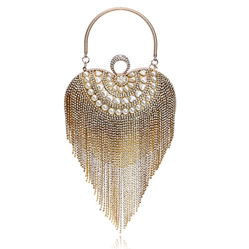 (Symbolove Womens Tassels Fashion Evening-handbags Cabinet Evening Party Wedding Heart-Shaped Clutch Bag For Womens-C1)