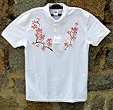 HOT SALE/White Polo T-shirt with Pink Cherry Blossom/Hand Painted Polo T-shirt/Painted Women's Polo/Sakura Blossom Flower Polo T-shirt/Beach Shirt/Gift Idea/Shirt ''Fruit of the Loom''/size M 65/30.