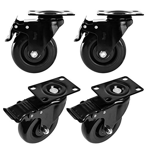 "Moogiitools 4"" Swivel Rubber Caster wheels with Safety Dual Locking Heavy Duty 1200lbs Casters Set of 4 Black (All with Brake)"