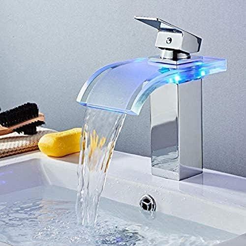 CLJ-LJ タップツェッペリン流域の蛇口の真鍮の滝温度色の変更浴室のミキサーのタップのデッキは、ウォッシュシンクガラスタップホットとコールドタップをマウント
