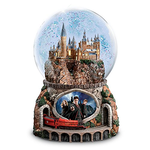 Bradford Exchange The Harry Potter Musical Glitter Globe with Rotating Train and Movie Image Lights - Music Box Globe Snow