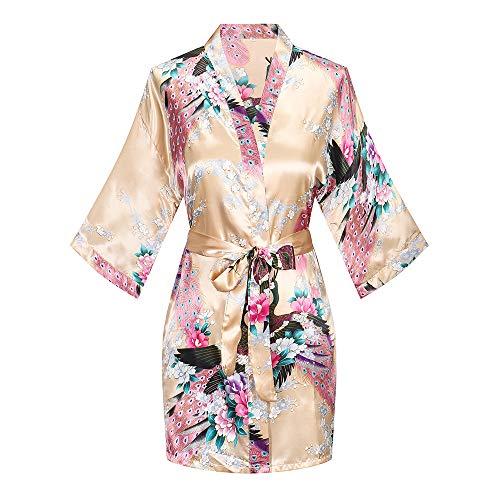 WitBuy Women's Floral Satin Kimono Robe Silk Short Bridesmaids Robe with Pockets Champagne S
