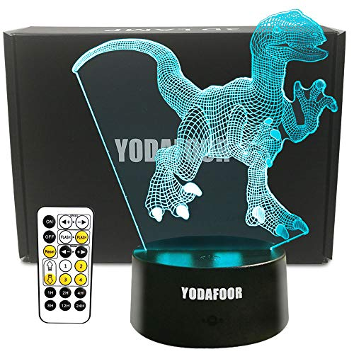 YODAFOOR Dinosaur Night Light Lamp Dinosaur Toy Gifts for Boys Teen Kids Birthday Halloween Christmas Gifts Nurcery Decor Lamp Bedroom Table Decoration (Dinosaur02) -
