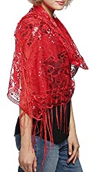 Red Mesh With Sequin Metallic Shawl with Fringe