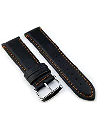 mens watch bands amazon com 20mm genuine black leather bands waterproof watch straps for men and women elegant orange