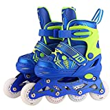 Kaluo Adjustable Inline Skates for Kids and Adults, Rollerblades with Featuring All Illuminating Wheels, Safe and Durable Inline Roller Skates for Boys Girls Children(US Stock) (Blue, US 2-5)