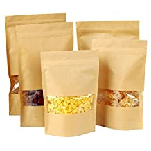 Coco*Store Kraft Paper Food Gift Bags With Window Self Sealing Envelope Shopping Bag