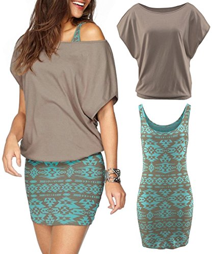 Yinggeli Women's 2 Pieces Casual Loose T Shirt Tops Print Bodycon Mini Tank Dresses (Medium, Khaki)