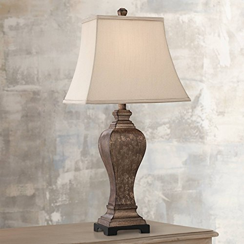 Edgar Traditional Table Lamp Bronze Square Urn Geneva Taupe Rectangular Shade for Living Room Family Bedroom Bedside - Regency Hill