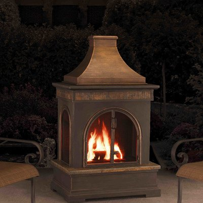 Sunjoy Hardy 58'' Slate And Steel Outdoor Fireplace To Keep The Chill of Winter At Bay