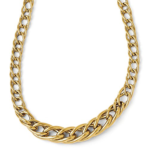Curb Graduated Link (14k Yellow Gold 8mm Hollow Graduated Curb Link Necklace, 18 Inch)