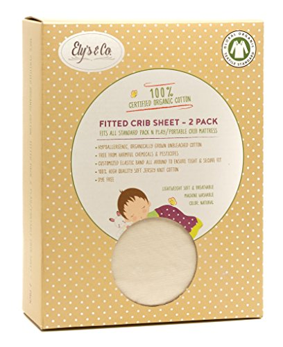Organic Pack n Play – Portable mini crib sheet 2 Pack, 100% GOTS Certified Organic Dye Free Jersey Cotton Knit Natural Color for Baby Girl or Baby Boy by Ely's & Co.