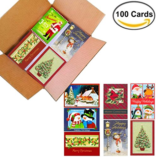 100 Wholesale Traditional Christmas Cards with Envelopes: Classic Holiday Designs, General Audience, on Recycled Paper (Classic Nostalgia Themes) -