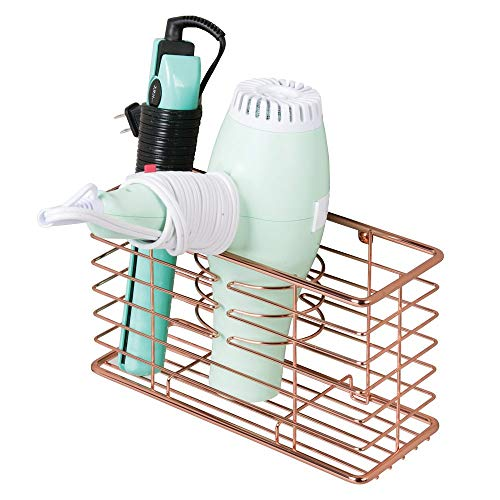 mDesign Farmhouse Metal Wire Bathroom Wall Mount Hair Care & Styling Tool Organizer Storage Basket for Hair Dryer, Flat Iron, Curling Wand, Hair Straightener, Brushes – Holds Hot Tools – Rose Gold
