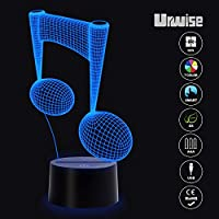 3D Illusion Night Light Touch Table Desk Lamp, 7 Colors Optical USB LED Nightlight 3343 from Urwise