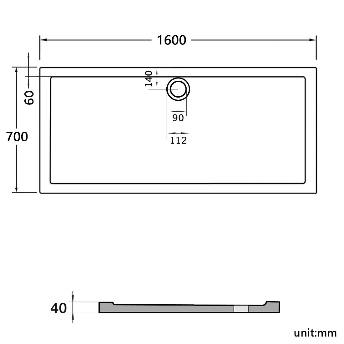 900 x 800 x 40 mm Rectangular Stone Tray for Shower Enclosure Cubicle with Free Waste Trap