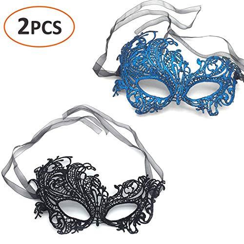 Bar Halloween Costume Ideas (iMapo 2 Pack Masquerade Mask for Women, Girl's Sexy Lace Venetian Style Eye Masks for Cosplay Mardi Gras Halloween Party Costume Ball - Phoenix (Black &)