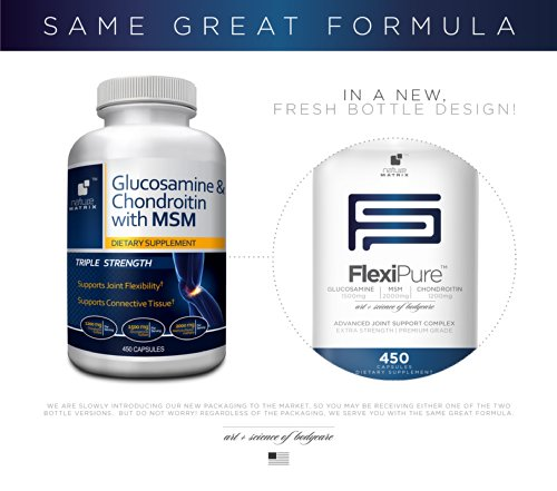 TRIPLE STRENGTH GLUCOSAMINE Sulfate 1500 mg - CHONDROITIN Sulfate 1200 mg - MSM 2000 mg PER SERVING- 450 Capsules Per Bottle- FlexiPure Advanced Joint Support Helps With ARTHRITIS PAIN, Supports HEALTHY And FLEXIBLE Joints and Connective Tissue. by Nature (Image #1)