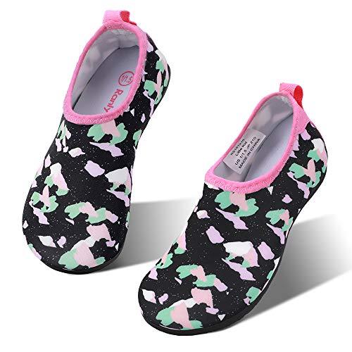 hiitave Toddler Water Shoes Non-Slip Quick Dry Swim Barefoot Beach Aqua Pool Socks for Boys & Girls Kids Black/Camo 9-10 M US Toddler