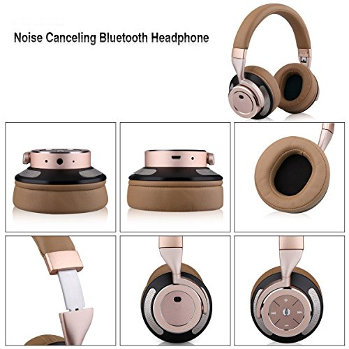 Gobuy Mart Active Noise Cancelling Headphones, Wireless Bluetooth V4.0 Headphones Stereo Over Ear Earphones with Mic for iPhone 7, Samsung and Other Smartphones - Brown