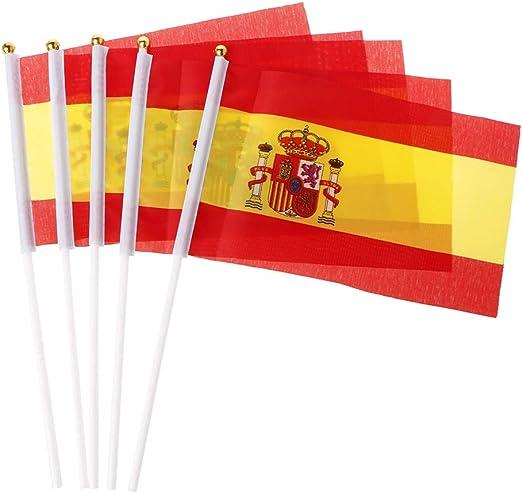 SimpleLife 5pcs Banderas Que agitan de la Mano española Banderas de la Cresta de España Deportes Que abren la decoración al Aire Libre: Amazon.es: Hogar