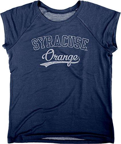(Blue 84 NCAA Syracuse Orange Women's Chloe Premium Terry Raglan Shirt, Large, Navy)
