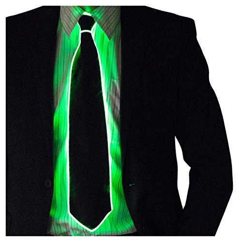 Neon Nightlife Light Up Neck Tie for Men, Green -