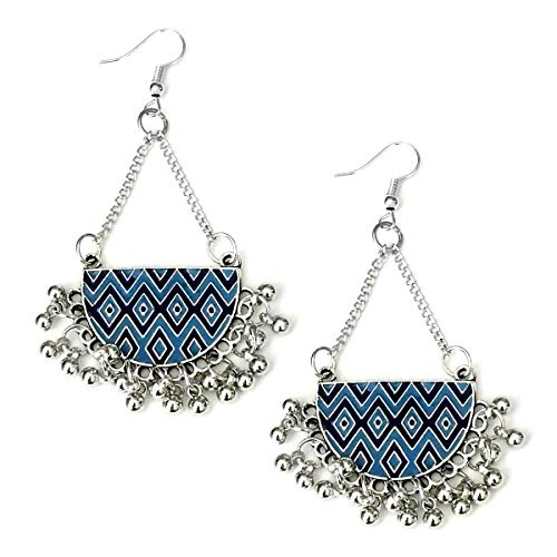 Blue Enameled Antiqued Silver Half-Circle Chandelier Earrings with ()