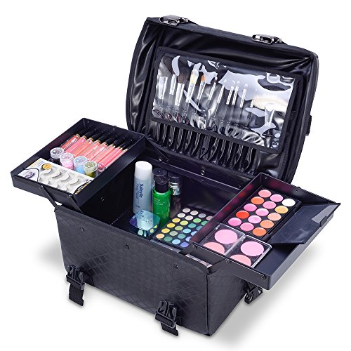 MUA LIMITED 2 in 1 Pro Makeup Artist Case on Wheels, Multifunction Cosmetic Organizer with Removable Drawers, Beauty Trolley, Soft Case with PREMIUM Buckles, ULTIMATE Series - Black Diamond by MUA Limited (Image #4)
