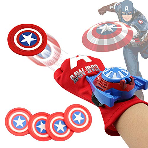 Control Captain (GRACEON Marvel Avengers Super Heroes Glove Laucher Props Spiderman Batman Hulk Iron Man Halloween Party Cosplay Glove Launcher for Kid (Captain America))
