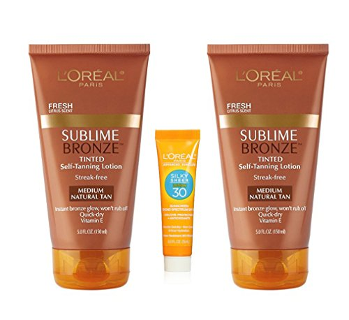 L'OREAL Sublime Bronze Tinted Self-Tanning Lotion, Medium Natural Tan, Citrus Scented, Value Pack