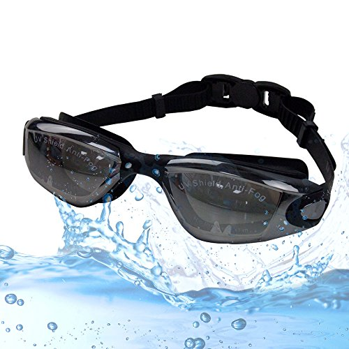 Swimming Goggles Swim Glasses With EarPlugs Accessories Best Gear for Adult Kids Youth Women Men Anti Fog No Leaking UV Protection Durable Mirrored See Clear in Water Free Case - Gear Me Swim Near