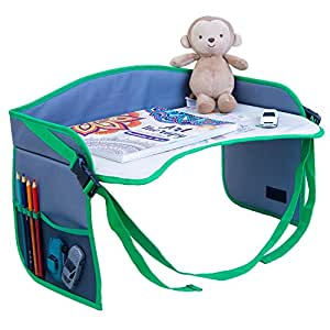 "Premium Children's Car Seat Tray [EXTRA WIDE] 17.3"" x 13"" with 2 Free eBooks 