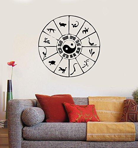 Wall Decal Zodiac Signs Astrology Calendar Oriental Vinyl Stickers (ig2886) Matte Black