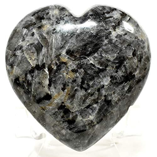 """2.5"""" 140g Natural Larvikite Heart Polished Sparkling Pearlspar/Blue Pearl Feldspar Gemstone Crystal Mineral Specimen - India + Stand"""