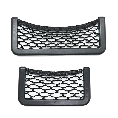 Mini Car Storage Net, IDS 2 Pack Universal Car Seat Side Back Net Storage Bag Phone Holder Pocket