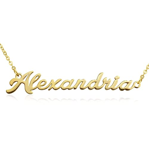 Beam Reach Alexandria Nameplate Necklace in Gold Tone