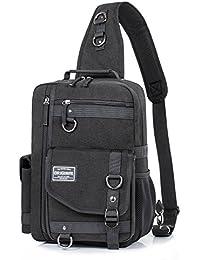 179660feaba Messenger Bag for Men, Cross Body Shoulder Sling Bag Travel Outdoor Gym Backpack  Black 1