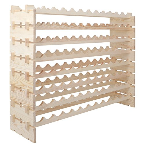 Smartxchoices 96 Bottle Stackable Modular Wine Rack Wooden Wine Storage Rack Free Standing Wine Holder Display Shelves, Wobble-Free, Solid Wood, (8 Row, 96 Bottle Capacity) (96 Bottle) by Smartxchoices (Image #2)