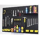 WallPeg pegboard panels, shelves, bins, locking peg hooks for tool storage kit 48 W (Black)