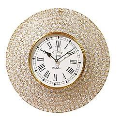 HANDCRAFTEDININDIA Decorative Crystal Wall Clock Gold (42 cm, Dial 20 cm)