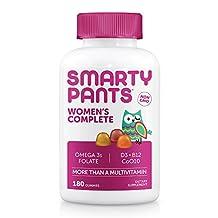 SmartyPants Gummy Vitamins Women's Complete Multivitamin Plus Omega 3 DHA/EPA Fish Oil, CoQ10, Folate (Methylfolate), Vitamin K2, Vitamin D3, Biotin, B12 (Methylcobalamin), 180 Gummies