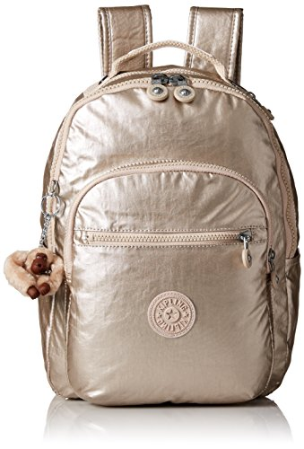 Kipling Women's Seoul S Metallic Backpack, Sparkly Gold (Style Baby Pouch Sling)