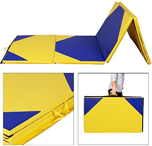 K&A Company Hexagonal Splicing Thick Folding Panel Gymnastics Mat Exercise Yoga Yellow 4' x 10' x 2""