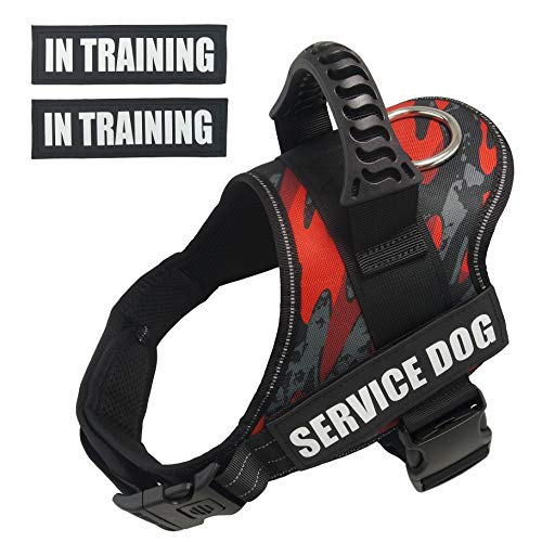 Dihapet Dog Vest Harnesses, Service Dog Vest, No Pull Service Dog Harness Reflective Adjustable Soft Camo Reflective Vest Harness