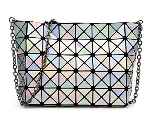 Purse Black Strap Cross Kayers Plaid Bag Geometric Fashion Shoulder body Shiny Silver with Sulliva Metal Women's Chain qxPq4wzU