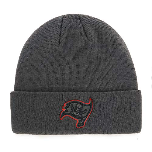 OTS NFL Tampa Bay Buccaneers Male Raised Cuff Knit Cap, Charcoal, One Size ()