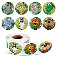 Louise Maelys 500pcs 1 inch Cartoon Animal Pattern Stickers Self Adhesive Round Label Zoo Elephant Lion Giraffe for Kids Party 8 Styles 1 Roll