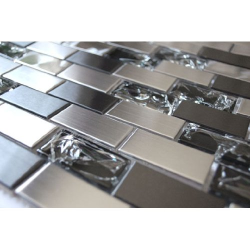 Stainless Steel And Crackled Glass Mosaic Mix - Kitchen Backsplash/Bathroom Wall/Home Wall Decor/Fireplace Surround