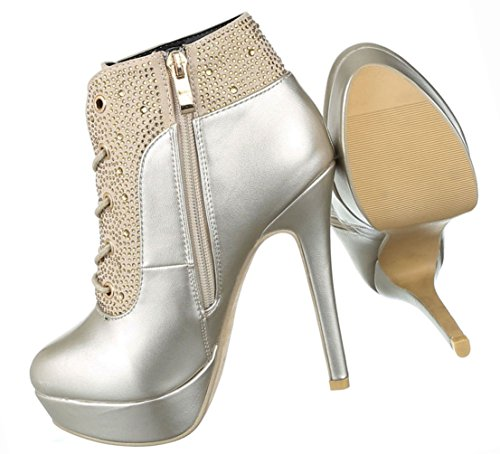 Damen Schuhe Stiefeletten Stiefel High Heels Stiletto Plateau Ankle Boots Gold Gold